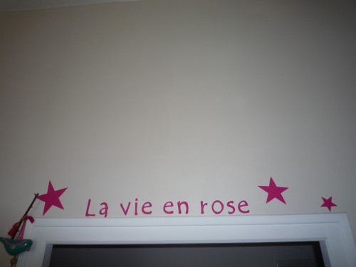 rose fluo,lin,home deco,stickers